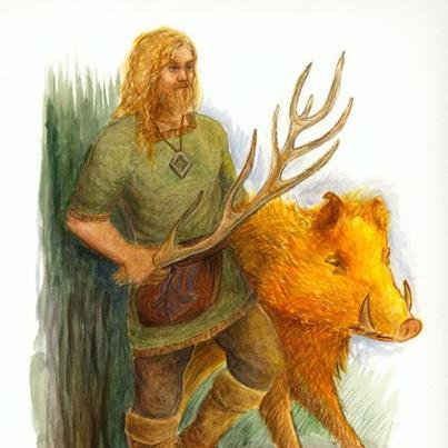 "Freyr, the ruler of Alfheim (""elf home""=realm of the elves), is the god of sun and rain, virility, fertlility and the patron of bountiful harvests. He is both a god of peace and a brave warrior. Freyr is the most prominent and most beautiful of the male members of the Vanir. He is married to the beautiful giantess Gerd, and he and his twinsister Freya, are the children of Njord and Njord's sister Jord.Freyr has two equestrian-animals: A golden boar Gullinbursti (""golden bristle"") ,which was made for him by the dwarves Brokk and Eitri, and a horse named Blodighofi - (""The one with blood on the hoofs"").Freyr owns the ship Skidbladnir (""wooden-bladed""), which always sails directly towards its target, and which can become so small that it can fit in Freyr's pocket. He also possessed a sword that would by itself emerge from its sheath and spread a field with carnage whenever the owner desired it.Freyr's shield bearer and servant is Skirnir, to whom he gave his sword, which Skirnir demanded as a reward for making Gerd his wife. Would he miss his self-fighting sword? There are two mentioned fights where he doesn't have his self-fightning sword:He fought Beli (who seems to have been the celtic God with powers similar to his own) and defeated Beli with an antler as a weapon. Beli was no match for him, and he could have killed Beli with his bare hands. His second mentioned fight/duel is harder: On the day of Ragnarok Frey will, in lack of the self-fighting sword, wrestle the fire giant Surt, who kills him. Freyr, sometimes referred to as Yngvi-Freyr, was especially associated with Sweden and seen as an ancestor of the former Swedish royal house. The center of his cult was the city Uppsala in Sweden. In southern Sweden he was called Fricco.~Mary & Mattias~"