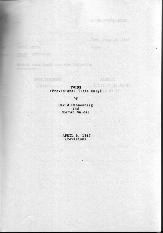The opening pages of the Twins / Dead Ringers script.