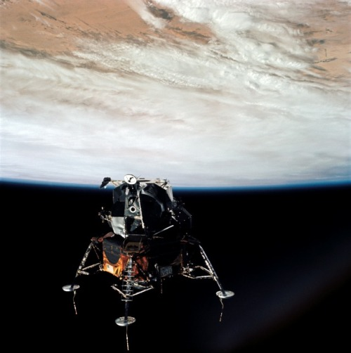 michaelvthesecond:  Apollo 9 First Lunar Module Flight Apollo 9 launched March 3, 1969, with a crucial mission: to fly the lunar module for the first time. The spacecraft had been tested successfully during the unmanned Apollo 5 mission. This would be the first time a crew would be aboard the spacecraft. The crew spent 10 days in low Earth orbit testing the lunar module's engines, navigation systems and docking maneuvers, as well as backpack life support systems. And while the module performed well, the crew had to scrap a spacewalk after one of the astronauts fell ill during the flight.  [Image:NASA]
