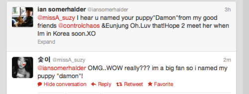 Ian Somerhalder & Suzy from Miss A tweet each other ♥