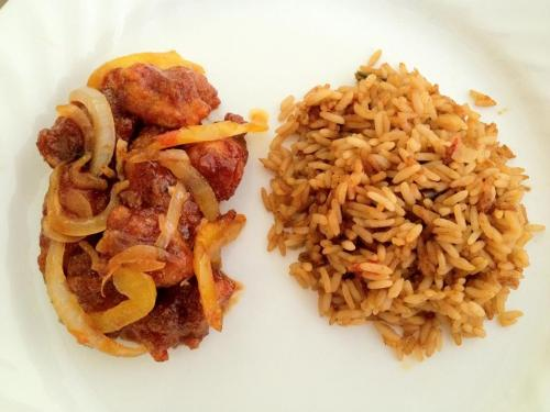 Made Sweet and Sour Crispy Chicken with Jambalaya Rice on the side. Recipe courtesy of Kris ❤