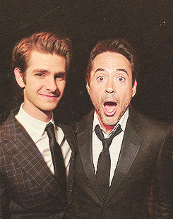 Robert Downey Jr & Andrew Garfield as Tony & Peter Stark-Rogers