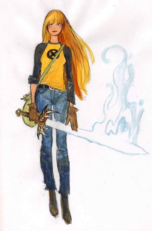 Illyana Rasputin, Magik My take on her. The Demon Bear Saga, illustrated by the great Bill Sienkiewicz, was my first intro to her and the New Mutants team. Fondly remembered and I still have to stop from buying issues of this run each time I find it. CBR noted this run as Comics You should Own. I wholeheartedly agree.   I stopped following the NM after Bill left the series and really stayed away after Illyana went missing. Also been on this kick of visualizing superhero costumes without the spandex or capes. She's a teen trying to have a normal life. Except she can mess you up by bringing you to a corner of hell or vice versa.  Pen, pencil, watercolor on ye olde sketchbook that should really have been filled up a month ago.