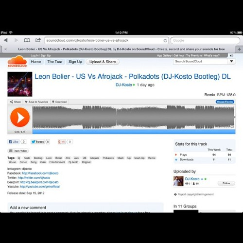 Just need 6 more #listeners on my #soundcloud #profile #dj #djkosto #music #house #bootleg #mashup #leon #bolier #leonbolier #afrojack (Taken with Instagram)