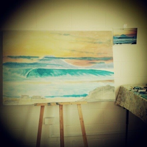I've washed in my next painting of famous Indo surf break Desert Point. This one will be fun #eco #surf #art
