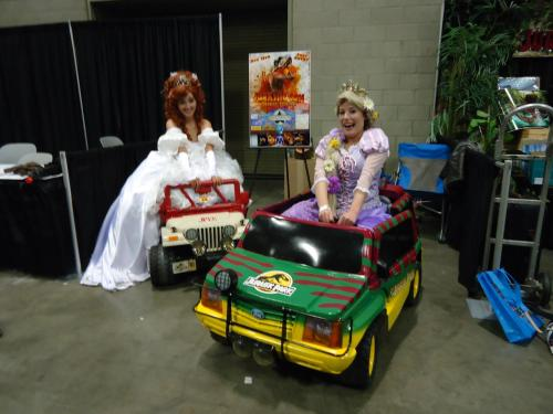 aurorahermione:  Princesses going to Jurassic Park!   This may be my favorite picture from the whole day! Giselle- Wendy (misswendybird) Rapunzel- Me