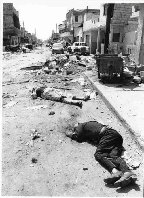 theoverthrow:  Sabra & Shatila refugee camps, Lebanon, September 1982 Palestinian refugees and Lebanese Shiite civilians were massacred for three days by Phalangist Christian militias, under the watch of the invading Israeli military. Photo is credited to UNRWA.