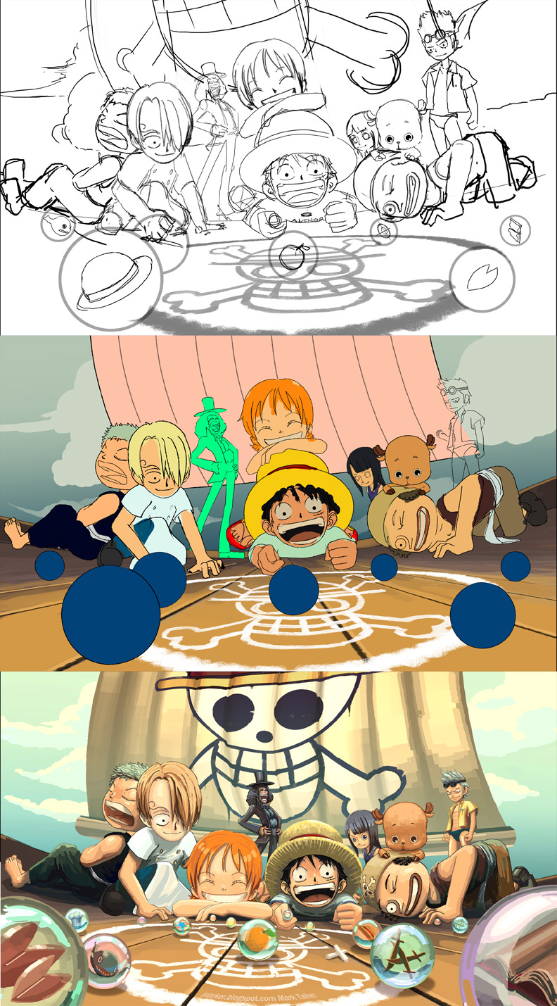 One Piece fan art process