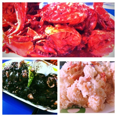 #picstitch Lunch at seaside MoA #crabs #shrimp #tempura #squids #lunch  (Taken with Instagram at Norberto's Grill)