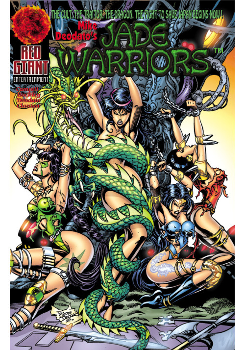 This is from Mike Deodato's Jade Warriors, which you might remember from this post.  Apparently, the series, originally published by Image, has been re-released on the web.  Handy! I know that's meant to be her armpit, but I keep seeing the girl on the left's arm as coming from beneath her breast.  And the girl in blue's buttcheek is falling off.  And… oh god… the horror. Also, while this may SEEM as if it's exotification of Asian women, actually, this is just what we do on weekends with our girlfriends (and pet dragons).