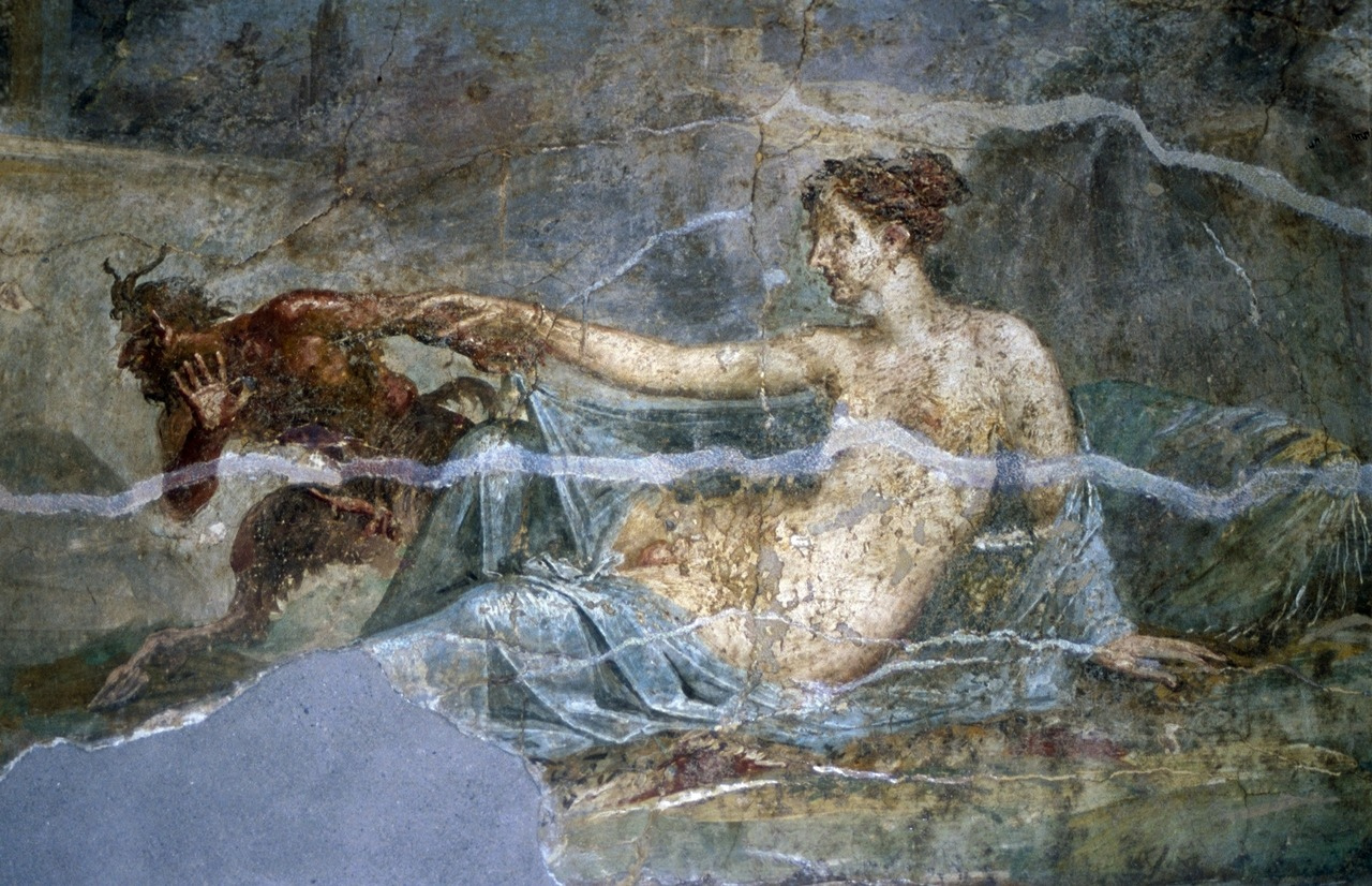 ancientart: Ancient Roman fresco of Pan and Hermaphroditus from the House of Dioscuri in Pompeii. Photo by TyB at the Archaeological Museum in Naples, Italy.
