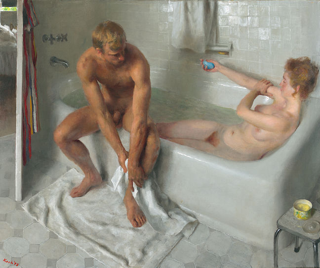I love the gentle intimacy of this picture thefineartnude:  John Koch (1910-1978), The Bath