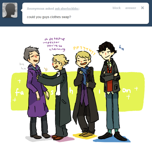 ask-sherlockbbc:  meanwhile mycroft and moriarty swap suits