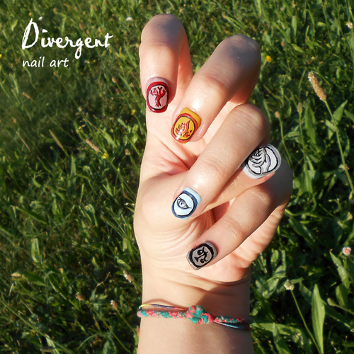 divergentphilippines:  Look at this amazing Divergent nail art! I would love to have these! :) How about you? Do you have any creative Divergent work? Send it to us at divergentphils@gmail.com and who knows? You might be featured here too!