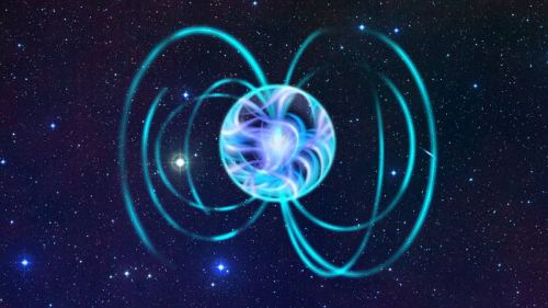 ikenbot:  Giant Super-Magnetic Star Has Scientists Buzzing  The most magnetic massive star seen yet is dragging a giant cloak of trapped charged particles around it.  Image: An artist's interpretation of a magnetar. Credit: ESA - Christophe Carreau  This newly discovered star, NGC 1624-2, could help shed light on what role the magnetism of stars plays in the evolution of stars and their galaxies.  NGC 1624-2, which lies about 20,000 light-years from Earth in the constellation Perseus, has about 35 times the sun's mass. Its hefty mass gives it plenty of fuel, making it bright and hot and thus likely to burn out relatively quickly after a lifetime of about 5 million years, or one-tenth of 1 percent of the sun's current age at midlife.
