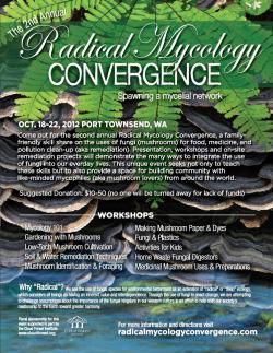 I'm going, I'm going, I'm going! Radical Mycology Convergence, October 18-22, Port Townsend, Washington. See you all there :)