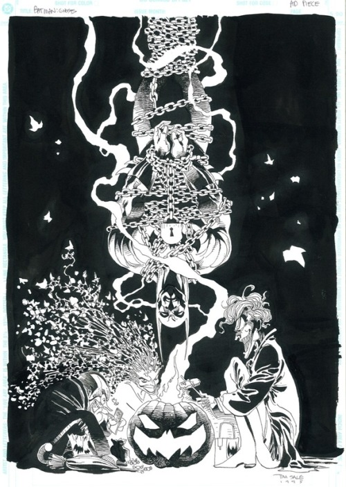 Batman and the Joker black and white original art by Tim Sale