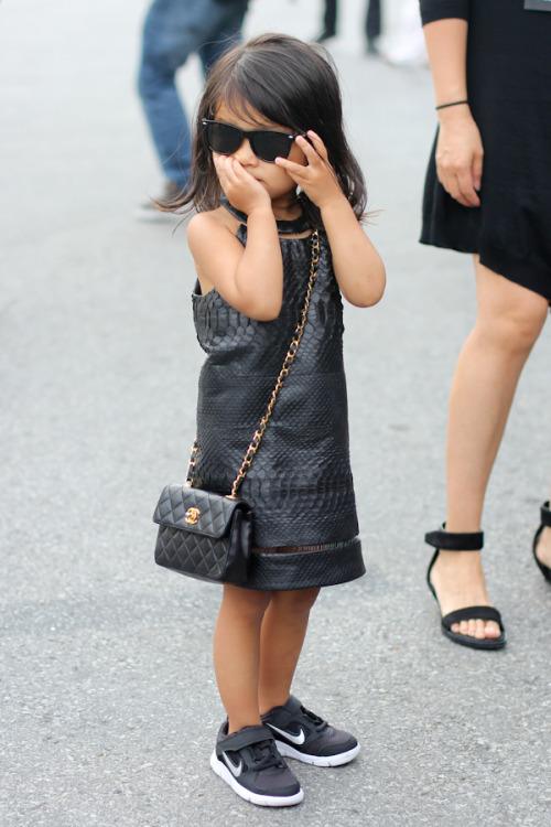 what-do-i-wear:  Alexander Wang's niece 'Aila' during NYFW 2013 (image: chicagostreetstyle)