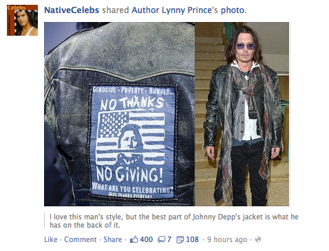 ustitlvdatsi:  so are we pretending johnny depp is native now why is NativeCelebs posting him  He is actually PART Native. He has some Cherokee ancestry. One of my Native friends has his picture up on the wall, a picture of him meeting Johnny Depp, and he explained this to me (my friend is Cree). More recently he was accepted into the Commanche tribe, but only as an honorary member (he can't prove his ancestry).And yes I am aware that in the '70s everyone claimed that there grandmother was a Cherokee princess. This seems ever-so-slightly more legit.