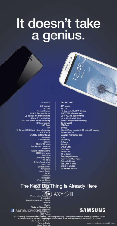 Hey, you asked for it Samsung. See the original Ad here: http://mashable.com/2012/09/15/samsung-ad-iphone-5/