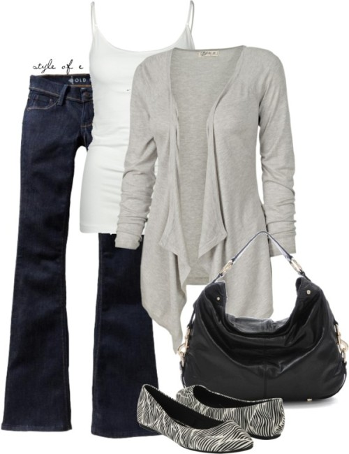 For a cool day by styleofe featuring flare jeans ❤ liked on PolyvoreFat Face knit top, $32 / Old Navy flare jeans / TRESICS Shelf Bralette Womens Cami / Forever 21 zebra print shoes / Rebecca Minkoff black handbag