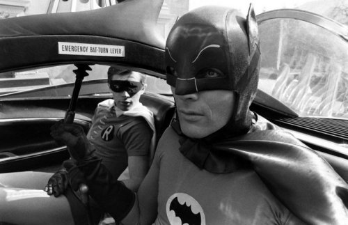 theswinginsixties:  Adam West and Burt Ward on the set of Batman, 1966. Photo by Yale Joel.  GPOY
