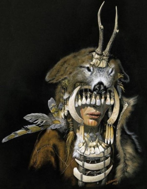 "midnightzodiac:  Mesolithic female shaman of Bad Dürrenberg, 7000-6500 bce, with reconstructed regalia from animal bones, horns, teeth, and shells. From a wonderful color-illustrated pdf of ""Archaeological Finds from Germany"" from the paleolithic to the christian era. Other interesting finds too."