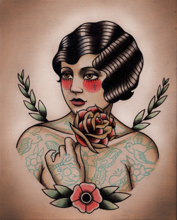 Le Flapper Flash   Print now available PARLOR TATTOO PRINTS by Quyen Dinh