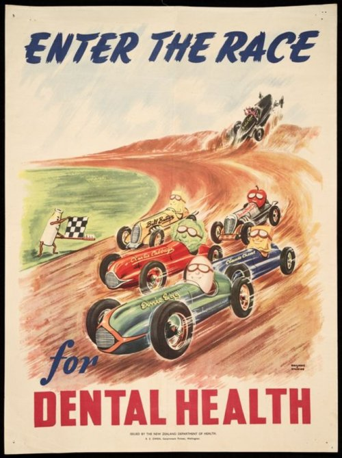 "Enter the race for dental health - 1950's ""Shows a close sports car race between Ernie Egg, Claude Cheese, Charlie Cabbage, Bill Butter and Andy Apple, who are being given the checkered flag by a bottle of milk holding the flag on a toothbrush. In the background, Bertie Germ has crashed off the track."""