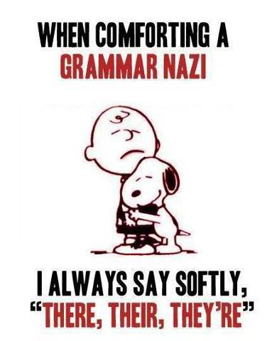 """When comforting a grammar Nazi always say softly, ""There, their, they're."""