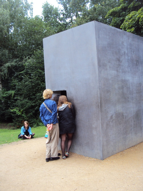 essentialaesthetic:  Memorial to Homosexuals persecuted under Nazism Elmgreen&Dragset, Berlin, 2008 to the left from Brandenburger Tor (read more)