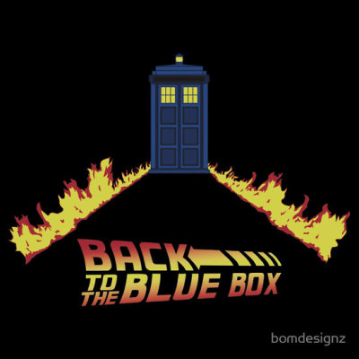 """Back to the Blue Box"" by Bomdesignz. There's more than one way to travel through time…  Doctor Who meets Back to the Future in this time-travelling mash-up. Available from RedBubble."