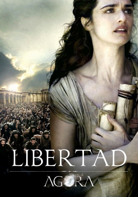"Rachel Weisz plays Hypatia ""There was a woman at Alexandria named Hypatia, daughter of the philosopher Theon, who made such attainments in literature and science, as to far surpass all the philosophers of her own time. Having succeeded to the school of Plato and Plotinus, she explained the principles of philosophy to her auditors, many of whom came from a distance to receive her instructions. On account of the self-possession and ease of manner which she had acquired in consequence of the cultivation of her mind, she not infrequently appeared in public in the presence of the magistrates. Neither did she feel abashed in going to an assembly of men. For all men on account of her extraordinary dignity and virtue admired her the more."" According to historical accounts, she was murdered brutally by a Christian mob during a religious turmoil in Alexandria where she was deemed a witch."