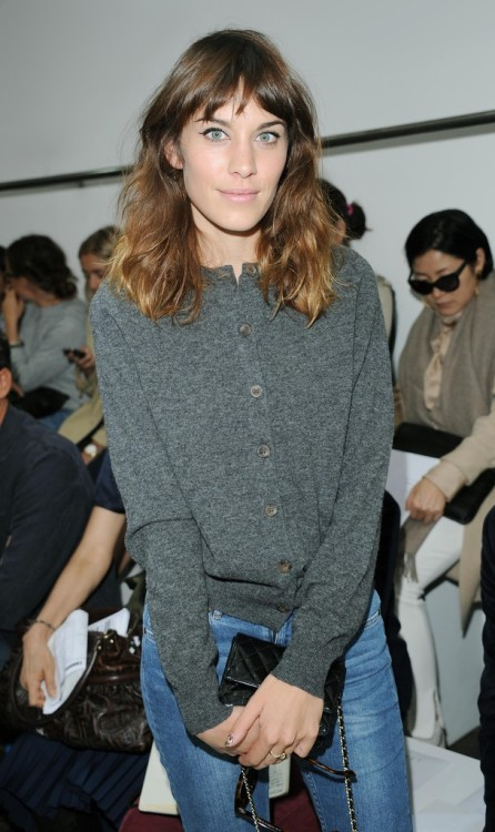 alexastyle:  Alexa Chung attends the front row for the Margaret Howell show on day 3 of London Fashion Week Spring/Summer 2013, at Margaret Howell on September 16, 2012 in London, England.