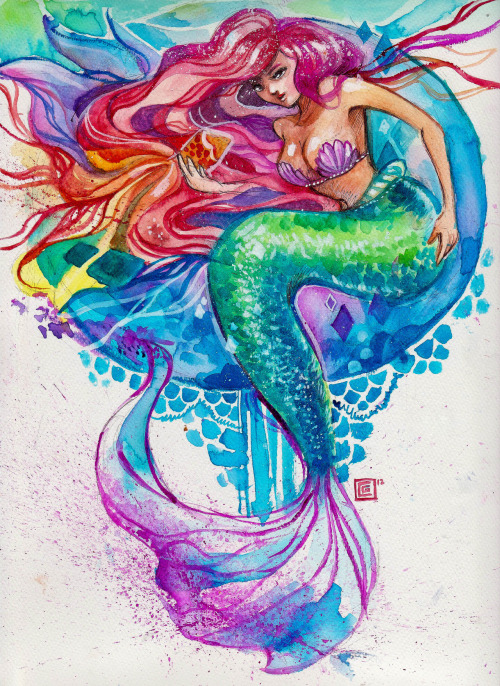 I always wanted to become a mermaid. ♥watercolors + poster paint on 9x12 canson paper