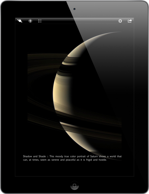 Cassini HD, a free iPad app that gives you 840 of the most striking images beamed back from Saturn by NASA's Cassini orbiter. Also see these stunning technicolor images from Cassini.