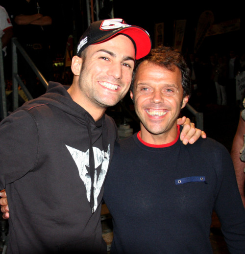 Mattia Pasini and Loris Capirossi at Dedikato event, Misano 2012.