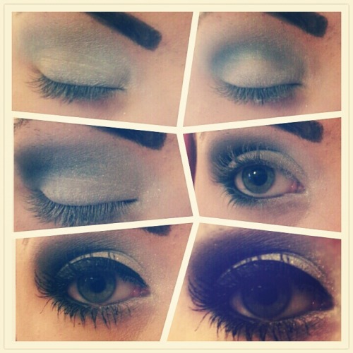 Blue/Silver smokey eye by me.  Unbranded light blue/white base, unbranded dark blue shadow, rimmel black shadow, Barry M shimmer dust, unbranded black liquid liner, Avon super shock mascara, rimmel brown definer.