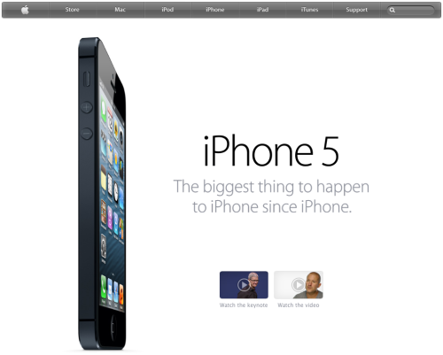 While looking at www.apple.com for the iPhone 5 one thing came up to my mind. It is surprising to see the visual space Apple reserve for the physical device compared to the software side. It seems Apple reserve nearly all the space for physical device details and show less and less about the software. I would tend to think that Apple could balance the visual cues between the hardware details and the software to follow their design philosophy. After all, what makes the iPhone so cool and enjoyable to use it the balance and integration of the software with this hardware.