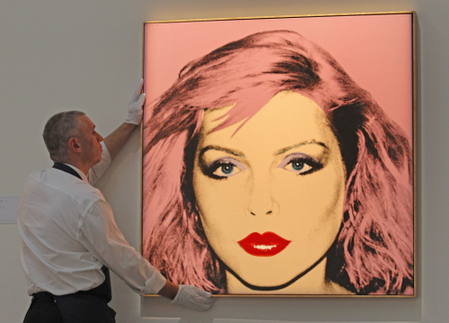 Andy Warhol's 1980 silkscreen print of Debbie Harry. Photo from London's Sotheby's auction house on June 29, 2011 as part of their contemporary art sale.