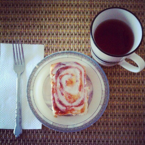 White pomegranate tea + homemade cinnamon buns = ready for NFL Sunday!