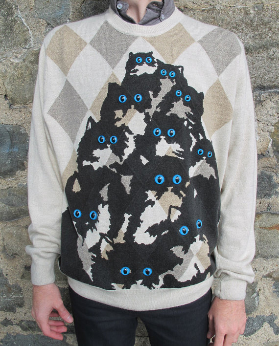 The return of the Sherlock crazy kitty jumper by Pretty Snake! https://www.etsy.com/listing/89452006/argyle-crazy-cat-jumper-large?ref=cat_gallery_7