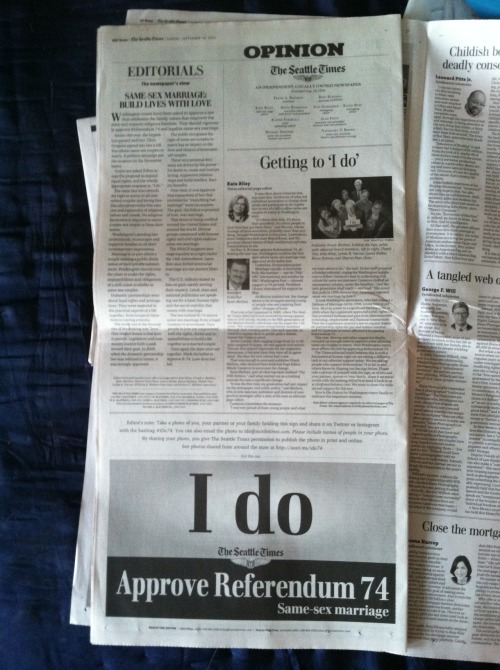 Support same-sex marriage? Find 'I Do' sign in Sun @seatimesopinion section, join our social media campaign