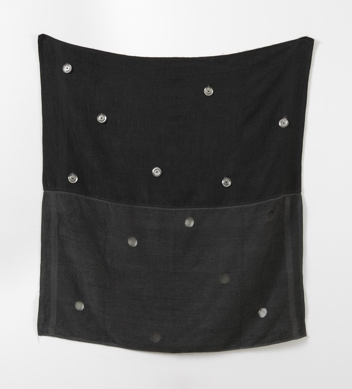 adjutor:  Paul Lee,  Untitled (two towels with tambourine bells), 2010,  towels, cotton thread, ink, tambourine bells,  125 x 108 cm / 49 1/4 x 42 1/2 ins,  (MA-LEEPA-00011)