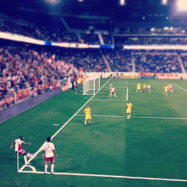 "Insane: Thierry Henry shoots & scores directly from a corner kick (aka the rare ""Olympic"" goal)!! (Taken with Instagram at Red Bull Arena)"