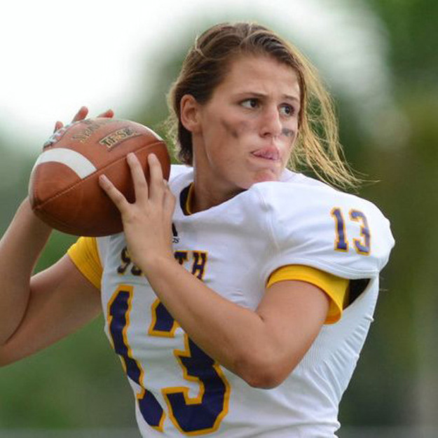 Erin Dimeglio is awesome because she's the first female quarterback to play high school football in Florida.
