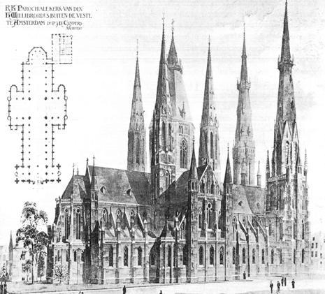 P. J. H. Cuypers: proposed design for St. Willibrordus church, Amsterdam (1866).