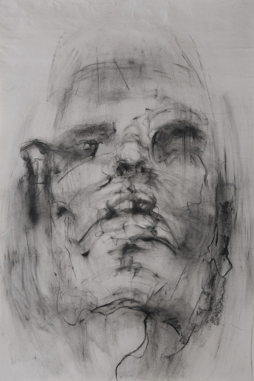 yunacho:  from 50 series (self portrait) charcoal on newsprint using fabric 24 x 36 2012 freshman 2nd semester