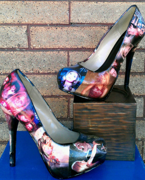 Buffy The Vampire Slayer - Heels; etsy These heels are a sure conversation starter. Not too many woman can say they own a pair of comic strip heels. We also carry modern and vintage versions of comics or even cartoon characters. We can design anything from:Spiderman, Wonder Woman, Fanstastic Four, Avengers, Hello Kitty, Wizard of Oz,Batman, She-Ra, SMurfs, The Hulk, Super Man, Any Marvel or DC comics or favorite movies. You can bedazzle them or leave them plain. You envision it and we'll make. Its your very own creation.Each shoe is decoupaged and very sturdy. It is recommended to wear only on special occasions. Just a comic book, you want to preserve these babies as much as possible. $85.00 USD
