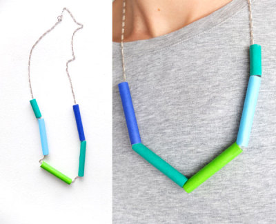 wattlebirdblog:  DIY paper bead color block necklace via My Poppet